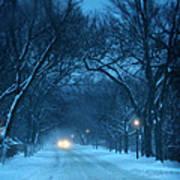 Snowy Road On A Winter Evening Art Print