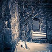 Snowy Ruins At Night Art Print