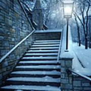 Snowy Stairway Art Print