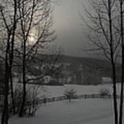 Snowy Sunset  Art Print
