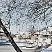 Snowy View Of Boathouserow Art Print