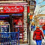 Snowy Walk By The Tea Room And Pastry Shop Winter Street Montreal Art Carole Spandau  Art Print
