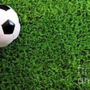 Soccer Ball On Green Grass Art Print