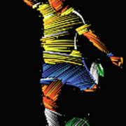 Soccer Player Running To Kick The Ball Art Print