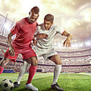 Soccer Player Tackling Ball In Stadium Art Print
