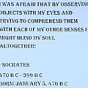 Socrates Quote In Cyan Art Print