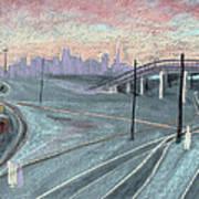Soft Sunset Over San Francisco And Oakland Train Tracks Art Print