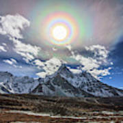 Solar Corona Above The Ama Dablam Art Print