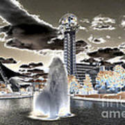 Solarized Infrared City Park Art Print