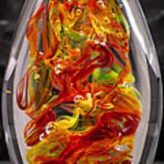 Solid Glass Sculpture - 13e8 - Extreme Flames Art Print