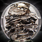 Solid Glass Sculpture 13r9 Black And White Art Print