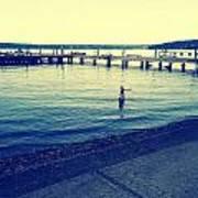Solitary Swimming  Art Print