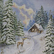 Somewhere In The Snowy Forest Art Print