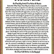Sophistcated Medieval Style Desiderata Art Print