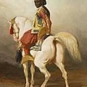 Soudanais Sur Son Etalon Blanc Art Print