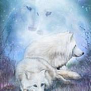 Soul Mates - White Wolves Art Print