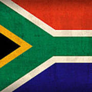 South Africa Flag Vintage Distressed Finish Art Print