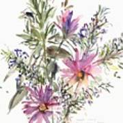 South African Daisies And Lavander Art Print