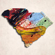 South Carolina Map Art - Painted Map Of South Carolina Art Print
