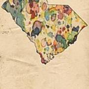 South Carolina Map Vintage Watercolor Art Print