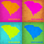 South Carolina Pop Art Map 1 Art Print