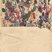 South Dakota Map Vintage Watercolor Art Print