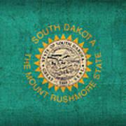 South Dakota State Flag Art On Worn Canvas Art Print