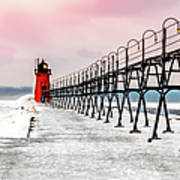 South Haven Light And Pier Art Print