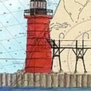 South Haven Lighthouse Mi Nautical Chart Map Art Cathy Peek Art Print
