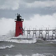 South Haven Pier Light In A Storm Art Print