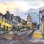 Nightfall At South Queensferry Edinburgh Scotland At Dusk Art Print