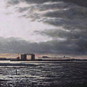 Southampton Docks From Weston Shore Winter Sunset Art Print