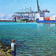 Southampton Western Docks Container Terminal As Seen From Marchwood Art Print
