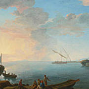 Southern Mediterranean Seascape With Boats And Figures At Sunset Art Print