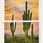 Southwest Desert Sunset White Rustic Distressed Window Art Art Print