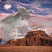 Southwest Navajo Rock House And Lightning Strikes Hdr Art Print