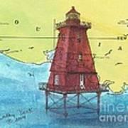 Southwest Reef Lighthouse La Nautical Chart Map Art Cathy Peek Art Print