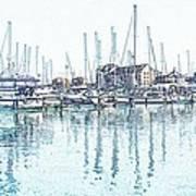 Soveriegn Harbor In Pencil Art Print