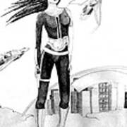 Space Girl 5000 Art Print