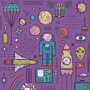 Space Planets Stars Cosmonaut Design Art Print