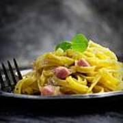 Spaghetti Carbonara Print by Mythja  Photography