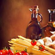 Spaghetti Pasta With Tomatoes And Garlic Art Print