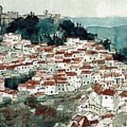 Spanish Hillside Village Art Print