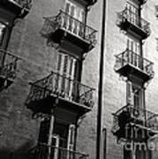 Spanish Balconies - Black And White Art Print