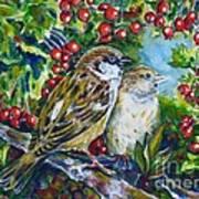 Sparrows On The Hawthorn Art Print