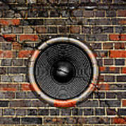 Speaker On A Cracked Brick Wall Art Print