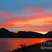 Spectacular Sunset On The Lake. Yellowstone. Art Print