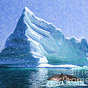 Sperm Whale Fluke In Front Of Iceberg Art Print