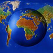 Spherical World Map.Spherical Map On Flat World Map Digital Acrylic Print By Steve Bloom