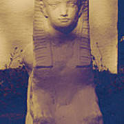 Sphinx Statue Blue Yellow And Lavender Usa Art Print